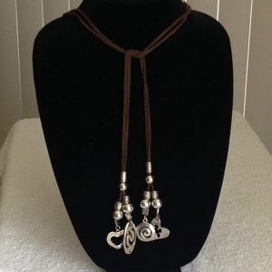 Brown Fabric Necklace or Belt w/ Charms
